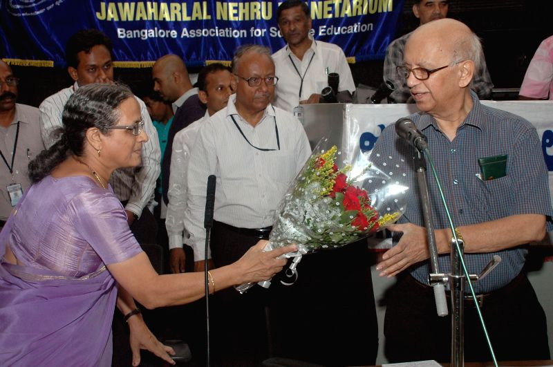 Chairperson of the Infosys Foundation Sudha Murthy and Prof. UR Rao during inauguration of 'Mars- The Red Planet' at Jawarharlal Nehru Planetarium in Bangalore on April 30, 2014.