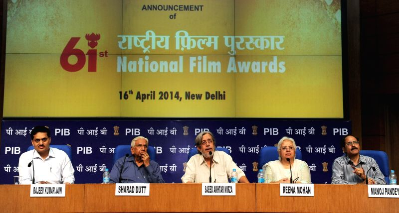 Chairperson of the the 61st National Films Awards Jury, Saeed Akhtar Mirza, announces the 61st National Films Awards for the year 2013 during a press conference in New Delhi on April 16, 2014. - Saeed Akhtar Mirza