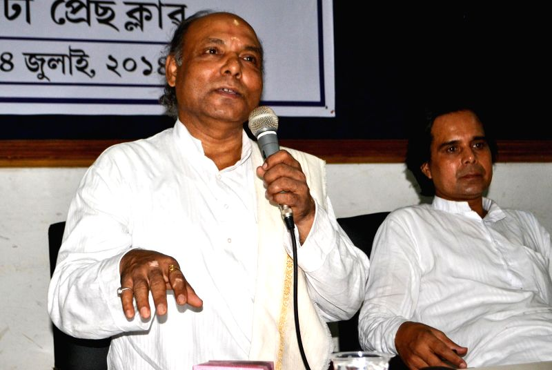 Chandamukhi Satriya Academy chairman Srihari Prosana Mohanta addresses a press conference at Guwahati Press Club in Guwahati on July 14, 2014.