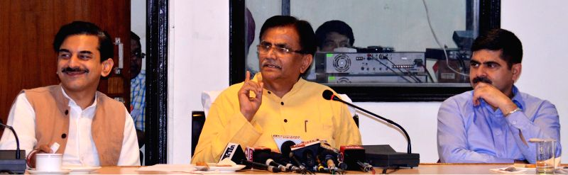 Haryana Agriculture Minister O.P. Dhankar addresses a press conference in Chandigarh, on April 30, 2015.
