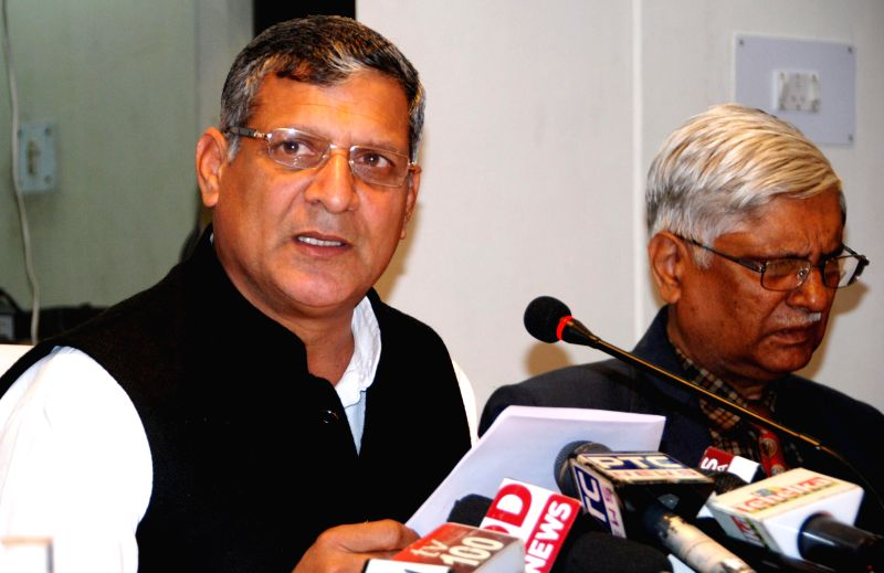 Haryana Assembly Speaker Kanwarpal Gujjar addresses a press conference in Chandigarh, on Feb 11, 2015. - Kanwarpal Gujjar