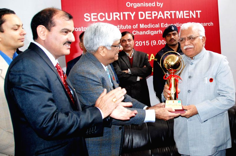 Haryana Chief Minister  Manohar Lal Khattar at the inauguration of a Blood Donation Camp organied by Security Department  PGIMER in Chandigarh on Jan 23, 2015. - Manohar Lal Khattar