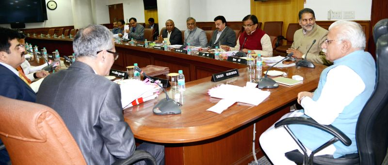 Haryana Chief Minister Manohar Lal Khattar presiding over the cabinet meeting at Chandigarh on Jan. 30, 2015. - Manohar Lal Khattar