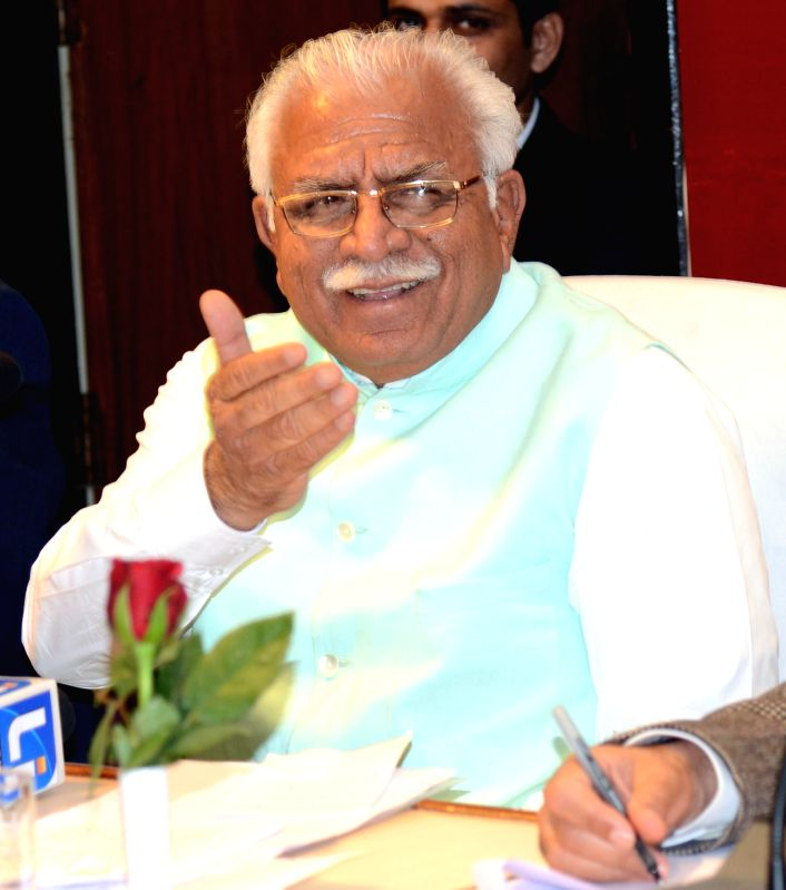 Haryana Chief Minister Manohar Lal Khattar addresses a press conference in Chandigarh on Feb. 3, 2015. - Manohar Lal Khattar