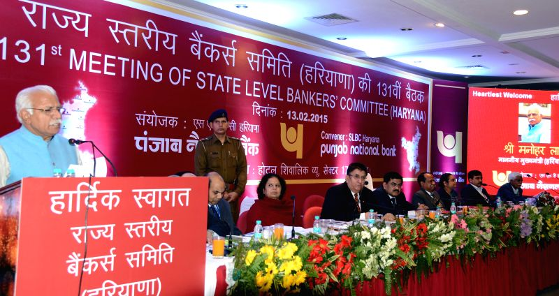 Haryana Chief Minister Manohar Lal Khattar addresses during the 131st meeting of State Level Bankers Committee (Haryana) in Chandigarh, on Feb 13, 2015. - Manohar Lal Khattar