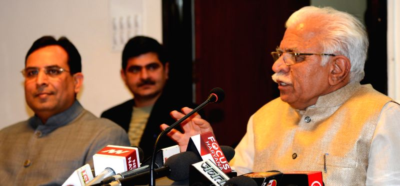 Haryana Chief Minister Manohar Lal Khattar addresses a press conference in Chandigarh, on March 2, 2015. - Manohar Lal Khattar