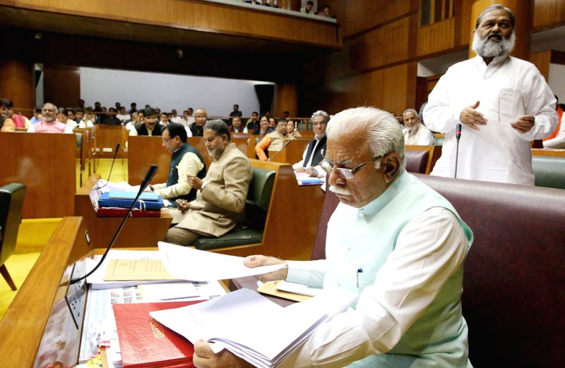 Haryana Chief Minister Manohar Lal Khattar during the budget session of Haryana assembly in Chandigarh, on March 10, 2015. - Manohar Lal Khattar