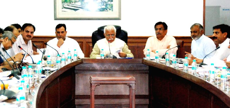 Haryana Chief Minister Manohar Lal Khattar preside over the 26th meeting of Mewat Development Board in Chandigarh on April 28, 2015. - Manohar Lal Khattar