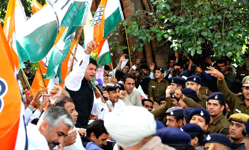 Haryana Congress Ashok Tanwar leads a march towards Haryana Assembly in Chandigarh, on March 9, 2015.