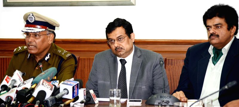 Haryana Director General Police S.N.Vashisth, Additional chief secretary (home) P K Mahapatra and Principal Secretary to Haryana Chief Minister Sanjeev Kaushal during a press conference .. - Sanjeev Kaushal