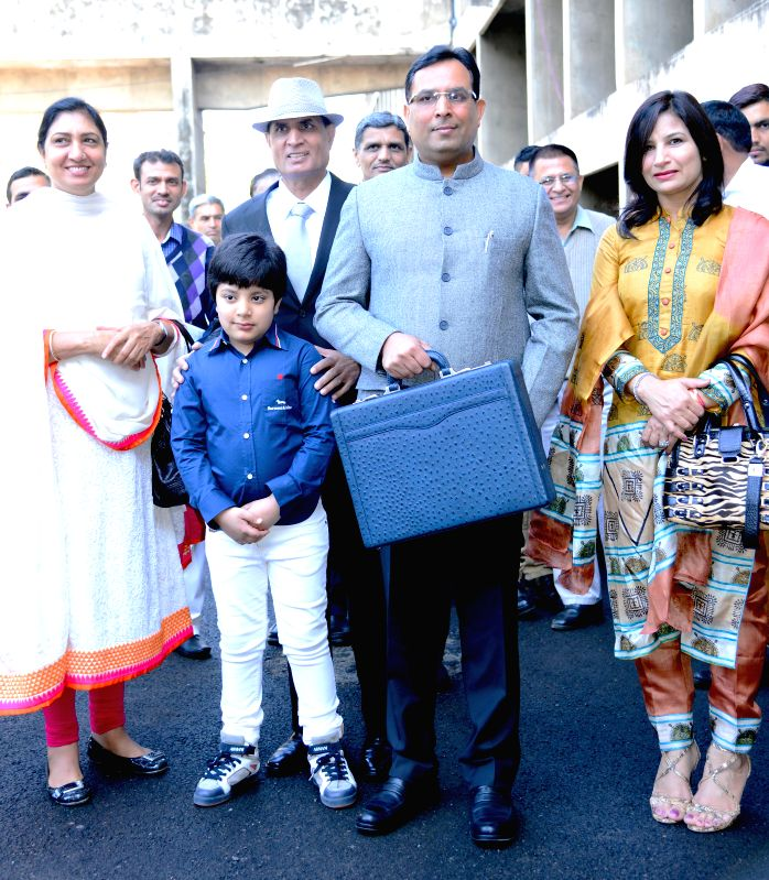Haryana Finance Minister Capt Abhimanyu arrives at the state legislative assembly to present state budget for 2015-16  in Chandigarh, on March 17, 2015. - Capt Abhimanyu