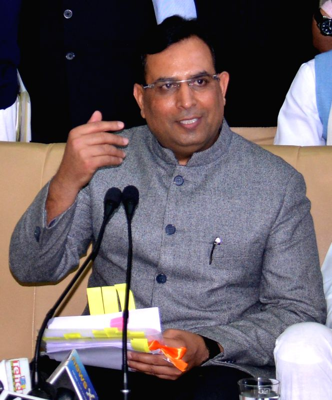 Haryana Finance Minister Capt Abhimanyu addresses a press conference regarding the state budget for 2015-16  in Chandigarh, on March 17, 2015. - Capt Abhimanyu