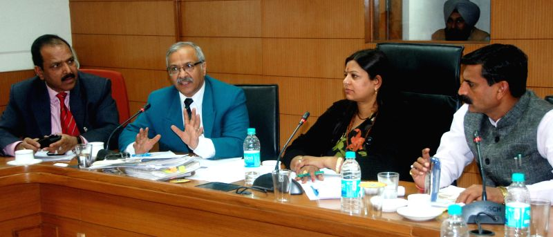 Haryana Social Justice and Empowerment Minister Kavita Jain during a meeting with District Social Welfare Officers in Chandigarh, on Nov 26, 2014.
