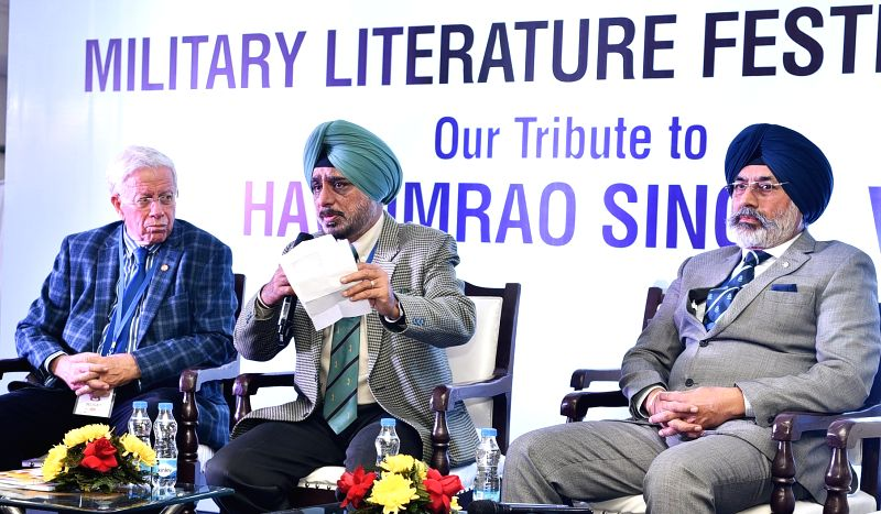 Chandigarh: Israeli Maj Gen Yossi Ben-Hanan, retired Lt Gen Iqbal Singh Singha and Lieutenant General KJ Singh during the 'Defending Against Formidable Odds: The Golan Heights, 1973' discussion on the concluding day of Military Literature Festival 20