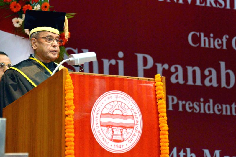 President Pranab Mukherjee addresses at the 64th Convocation of Punjab University, in Chandigarh, Punjab on March 14, 2015. - Pranab Mukherjee