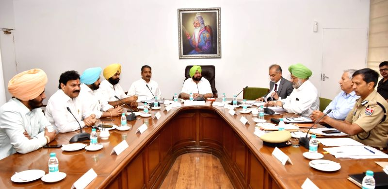 Chandigarh:Punjab Chief Minister Captain Amarinder Singh holds a video conference with DCs and SSPs to review the progress on drug eradicationand discuss the future strategy, in Chandigarh on June 26, 2019. The Video Conference was preceded by a meet