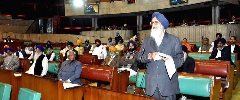 Punjab Chief Minister Parkash Singh Badal addresses at the state assembly in Chandigarh on March 17, 2015. - Parkash Singh Badal