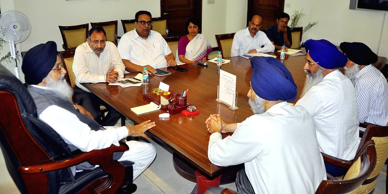 Punjab Chief Minister Parkash Singh Badal during a high level meeting to review the ongoing procurement in the state in Chandigarh on April 27, 2015. - Parkash Singh Badal