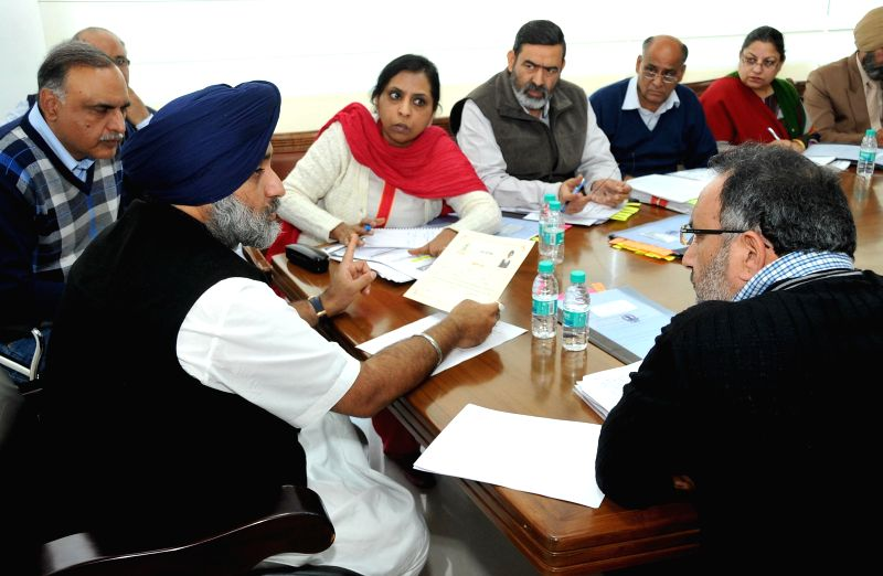 Punjab Deputy Chief Minister Sukhbir Singh Badal during a meeting regarding disbursements of pensions, shaguns and students scholarships in Chandigarh, on Dec 7, 2014. - Sukhbir Singh Badal