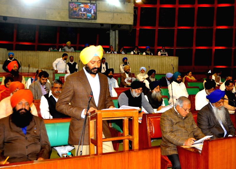Punjab Finance Minister Parminder Singh Dhindsa presents the state budget for 2015-16 at the legislative assembly in Chandigarh, on March 18, 2015. - Parminder Singh Dhindsa
