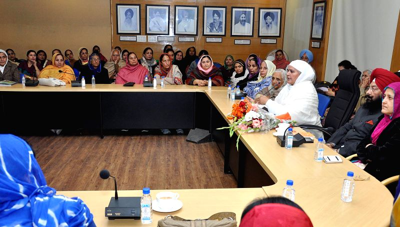 Shiromani Akali Dal (SAD) leader Bibi Jagir Kaur during a meeting with Women wing of the party in Chandigarh, on Jan 20, 2015.