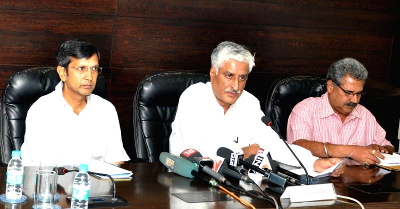 The Director General of Police of Punjab Sumedh Singh Saini during a press conference regarding the death of a 13-year-old girl who died after jumping-off a moving bus to escape ... - Sumedh Singh Saini