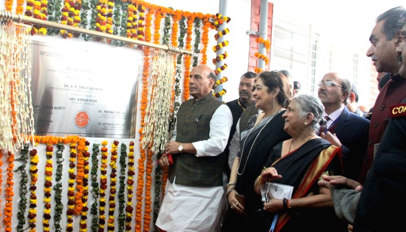 Chandigarh: Union Home Minister Rajnath Singh inaugurates the Sarai at the Postgraduate Institute of Medical Education and Research, in Chandigarh on Jan 30, 2018. Also seen BJP MP Kirron ... - Rajnath Singh and Kirron Kher