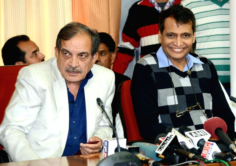 Union Ministers Birender Singh and  Suresh Parbhu during a press conference after filling their nomination papers for Rajya Sabha from Haryana at Haryana Vidhan Sabha, in Chandigarh on ... - Ministers Birender Singh