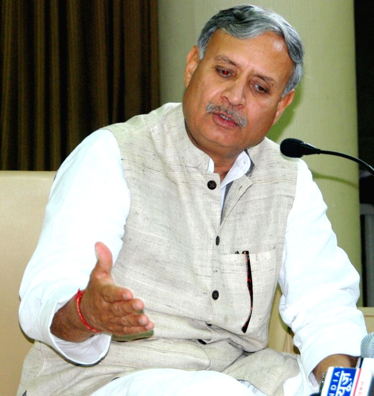Union MoS Defence Rao Inderjit Singh addresses a press conference in Chandigarh on March 25, 2015.