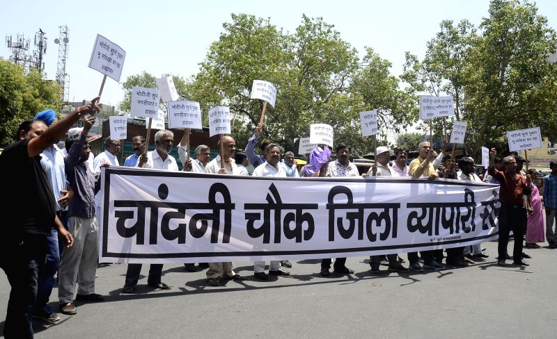 Chandni Chowk shopkeepers stage a protest against new Delhi Rent Control Act in New Delhi, on May 19, 2017.