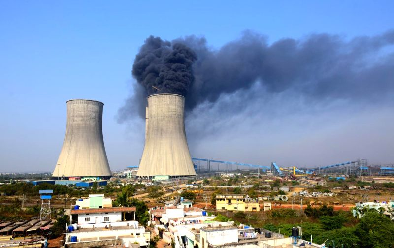 Smoke billows out of one of the cooling towers after a fire broke out at a thermal power plant in Chanda of Maharashtra's Chandrapur district (some 200 km away from Nagpur) on Feb 9, ...