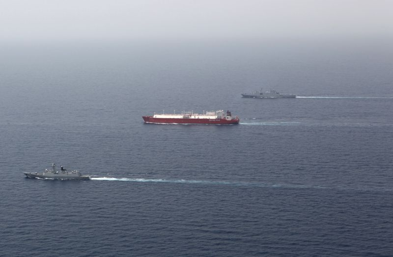 Convoy fleets of Chinese Navy are seen during an escort mission in the Gulf of Aden, Aug. 19, 2014. The 17th and the 18th Chinese Navy escort fleets ...