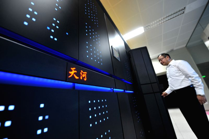 Photo taken on June 16, 2013 shows the Tianhe-2 supercomputer developed by China's National University of Defense Technology in Changsha, capital of central ...