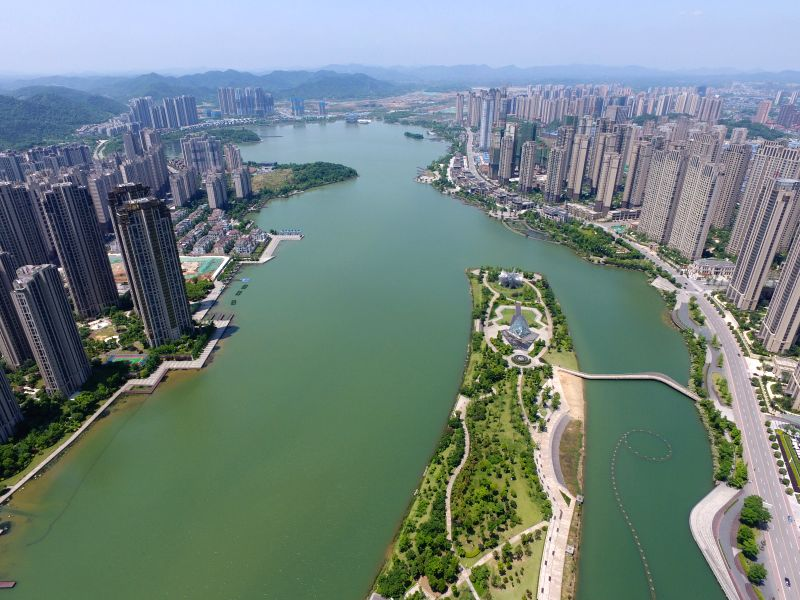 CHANGSHA, May 10, 2017 - Photo taken on May 9, 2017 shows the Meixi lake in Changsha, capital of central China's Hunan Province. The city plans to build 600 new parks from 2017 to 2019.