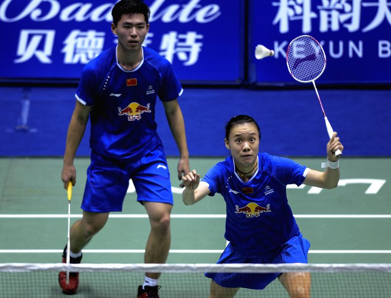 CHANGZHOU, April 19, 2017 - China's Zhou Haodong and Xu Ya(R) return the shuttlecock during the mixed doubles' first round match against Su Cheng Heng and Ye Jing Ya of Chinese Taipei at China ...