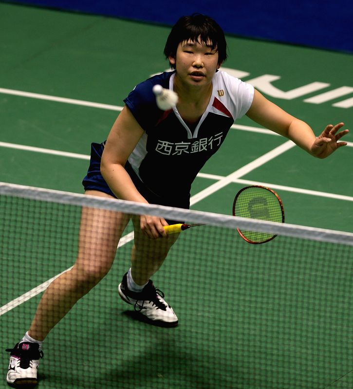 CHANGZHOU, April 19, 2017 - Japan's Saito Shiori returns the shuttlecock during the women's singles first round match against China's Han Yue at China Masters Badminton Tournament in Changzhou, east ...