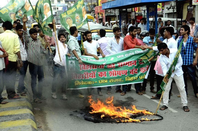 Chatra Rajad stage a demonstration in Patna on Sept 1, 2014.