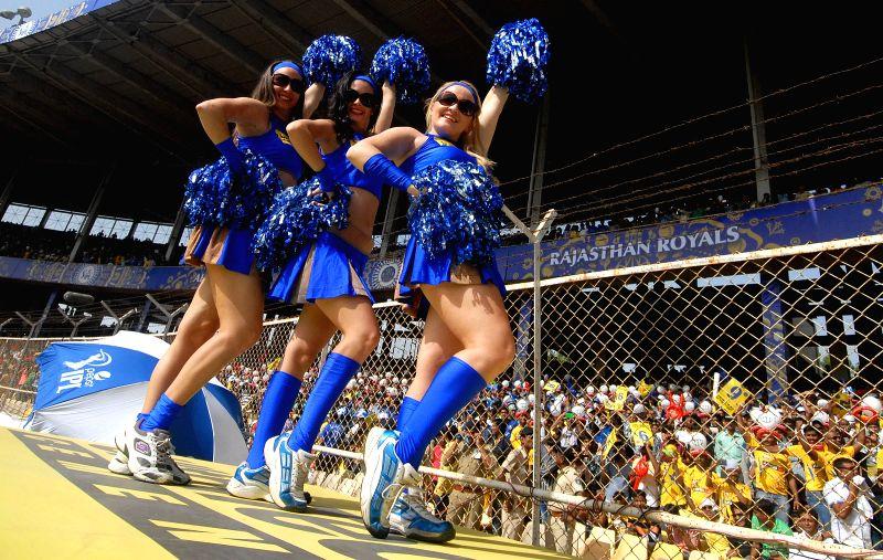 Cheer Leaders perform during an IPL-2015 match between Chennai Super Kings and Rajasthan Royals at Sardar Patel Stadium, Motera, in Ahmedabad, on April 19, 2015. - Sardar Patel Stadium