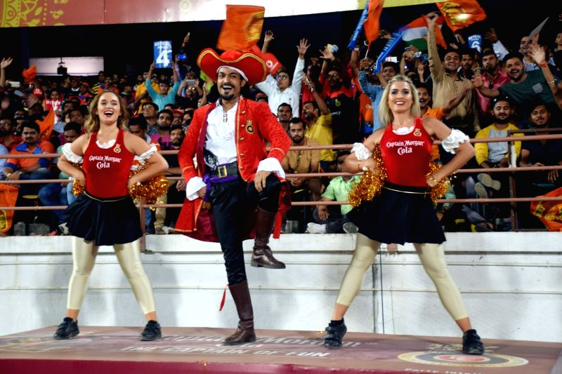 Cheerleaders perform during an IPL 2017 match between Royal Challengers Bangalore and Gujarat Lions at Saurashtra Cricket Association Stadium in Rajkot on April 18, 2017.