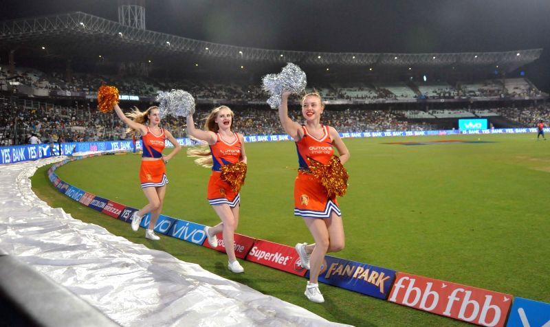 Cheerleaders perform during an IPL 2017 match between Kolkata Knight Riders and Gujarat Lions at Eden Gardens in Kolkata, on April 21, 2017.