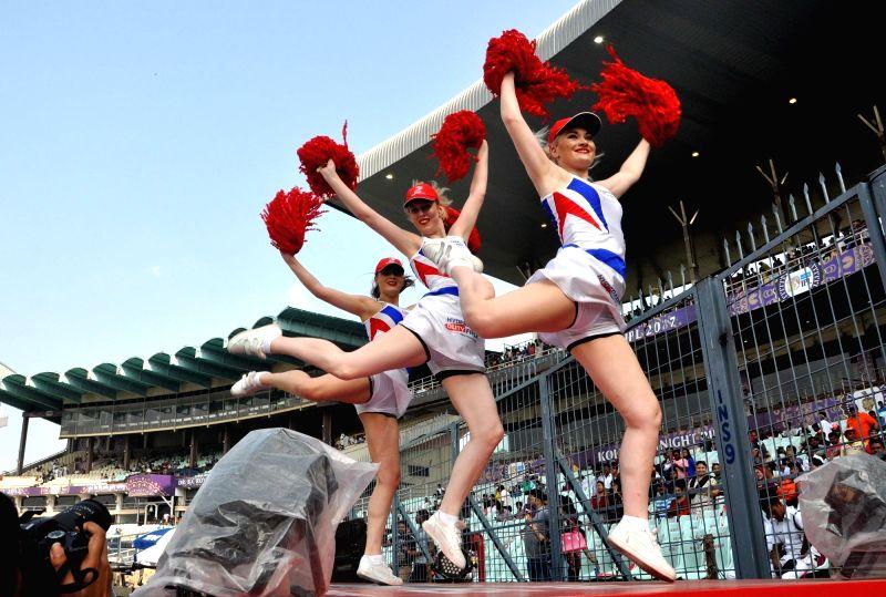 Cheerleaders perform during an IPL 2017 match between Kolkata Knight Riders and Delhi Daredevils at Eden Gardens in Kolkata on April 28, 2017.