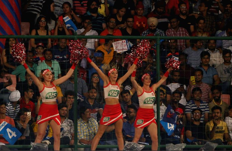 Cheerleaders ​perform during an IPL 2018 match between Kings XI Punjab and Delhi Daredevils at Feroz Shah Kotla, in New Delhi on April 23, 2018. - Feroz Shah Kotla