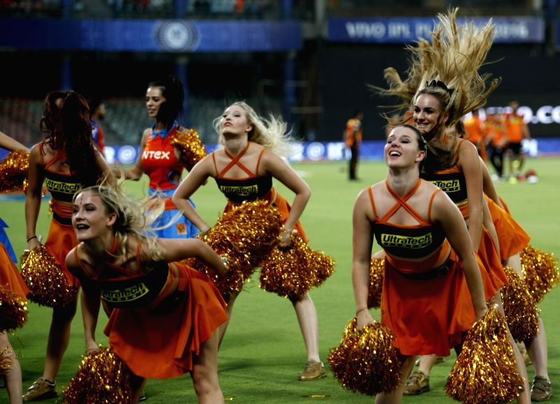 Cheerleaders perform during Qualifier 2 of IPL 2016 between Gujarat Lions and Sunrisers Hyderabad at Feroz Shah Kotla Stadium in New Delhi on May 27, 2016.