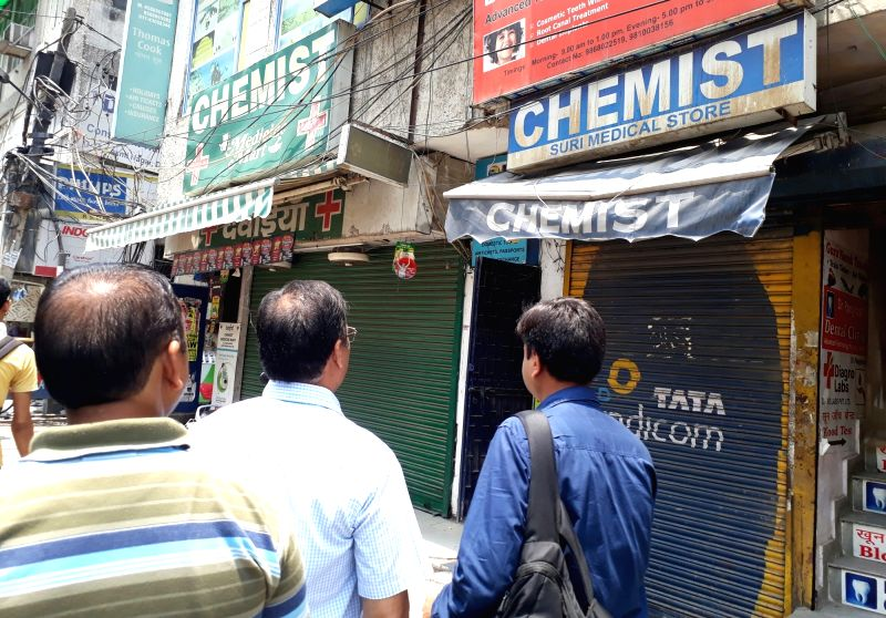 Chemist shops remain closed during a day long strike called to protest against stringent regulations on the sale of medicines, in New Delhi, on May 30, 2017.