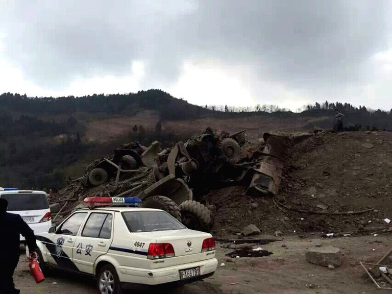 Photo taken on Feb. 24, 2015 shows the scene of a blast in a road tunnel under construction in Chengdu, capital of southwest China's Sichuan Province. The blast ...