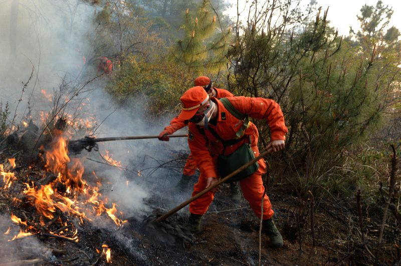 Firefighters work in the Chenggong District of Kunming, capital of southwest China's Yunnan Province, March 5, 2015. The fire broke out in a forest in the ...