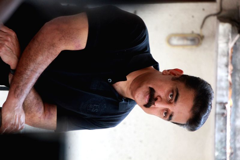Chennai: Actor Kamal Haasan during a press conference to promote his upcoming film `Uttama Villain` at his residence in Chennai on March 24, 2015.