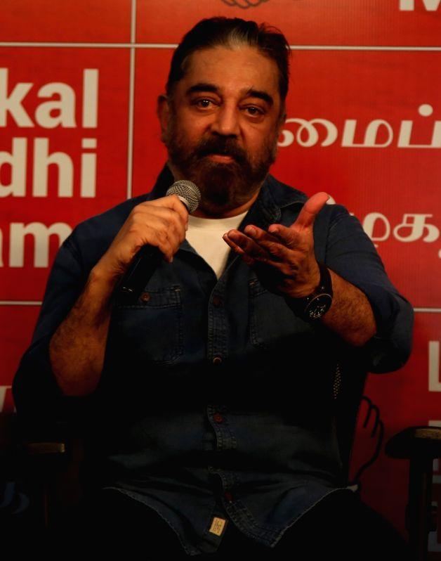 Chennai: Actor and Makkal Neethi Maiyam (MNM) party President Kamal Haasan addresses a press meet in Chennai on Dec 1, 2020.