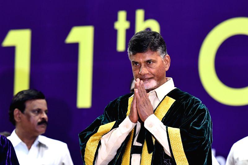 :Chennai: Andhra Pradesh Chief Minister N Chandrababu Naidu at the `11th Convocation Ceremony` of SRM University near Chennai on Nov. 7, 2015. (Photo: IANS). - N. Chandrababu Naidu