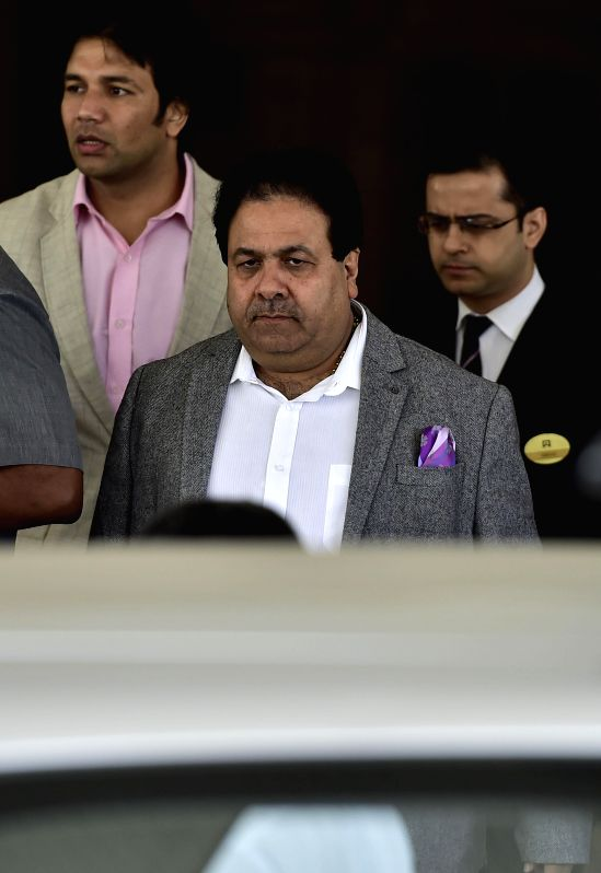 BCCI vice-president Rajiv Shukla comes out after BCCI working committee meeting in Chennai, on Feb 8, 2015.